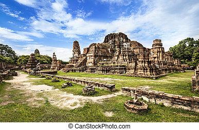 mahathat, (temple), mondiale, thailand., unesco, heritag, ayutthaya, wat
