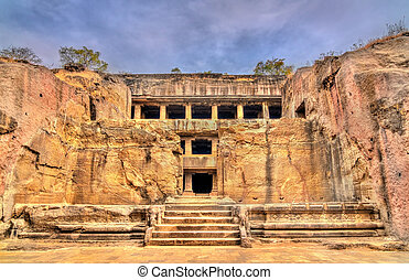 mahayana, unesco, mosteiro, budista, índia, local, maharashtra, ellora, caves., herança, mundo