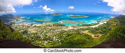Mahe Island panorama - Aerial panoramic view of Mahe ...