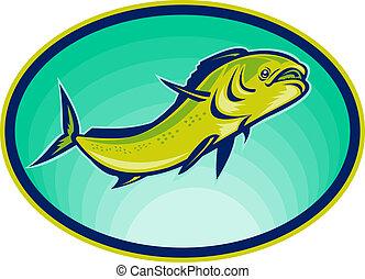 mahi, pez, angle., bajo, delfín, o, visto, natación