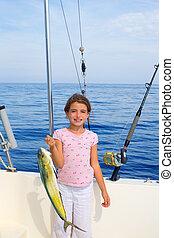 mahi, visje, visserij, kind, vangen, meisje, scheepje, ...