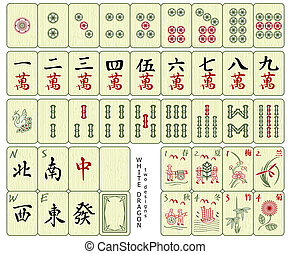 Mahjong tiles - Custom-designed Mahjong whole set over the...