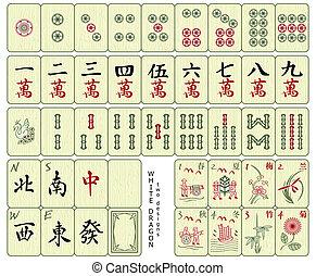 Custom-designed Mahjong whole set over the wood pattern