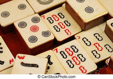 An extreme close up of Mahjong tiles