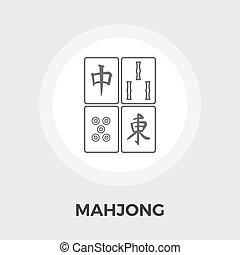 mahjong, vektor, lejlighed, ikon