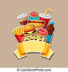 mahlzeit., fastfood, lebensmittel, schnell, mittagstisch, products., schmackhaft, hintergrund