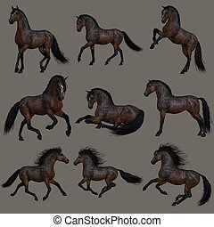 Mahogany Bay Horse, 3d CG - 3d computer graphics of nine...