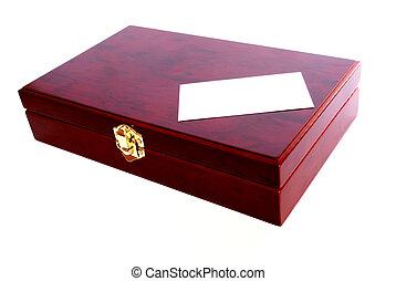 mahogany box with blank card
