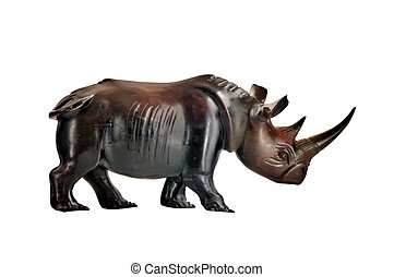 mahogany rhino figure isolated