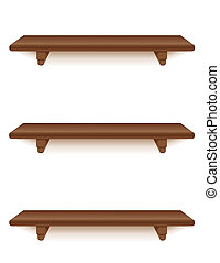 Three narrow mahogany wood wall shelves with brackets isolated on white. Add your favorite books and treasures. EPS8 in groups for easy editing.