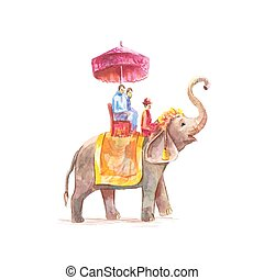 mahout, illustration, aquarelle, vecteur, éléphant asiatique, équitation, touristes