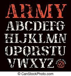 maiúscula, stencil-plate, fonte, serif