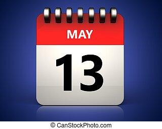 mai, 13, calendrier, 3d