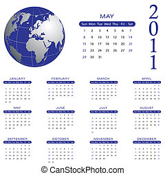 mai, 2011, calendrier, -
