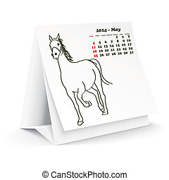 mai, 2014, cheval, calendrier, bureau