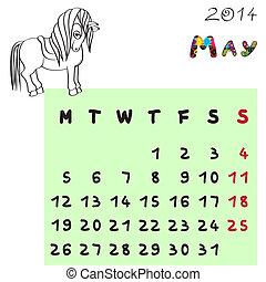 mai, 2014, cheval, calendrier
