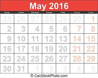 mai, 2016, calendrier, planification, vecteur