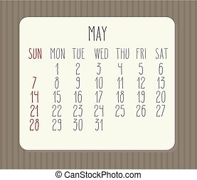 mai, 2017, calendrier