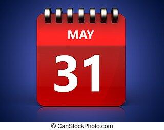 mai, 31, calendrier, 3d