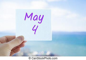 mai, 4th., mois, sky., concept, fond, brouillé, mer, autocollant, espace, tenue, 4, copie, texte, main, text., calendrier