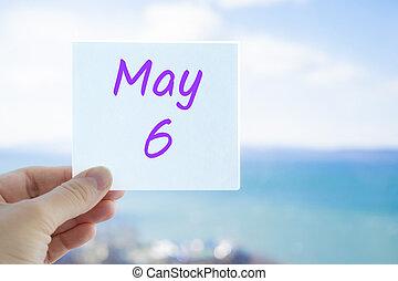 mai, 6, mois, sky., concept, 6th., fond, mer, brouillé, autocollant, espace, tenue, copie, texte, main, text., calendrier