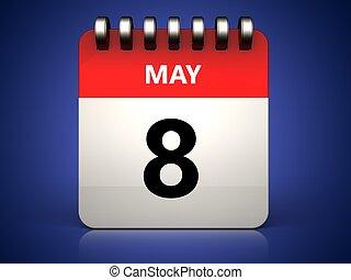 mai, 8, calendrier, 3d