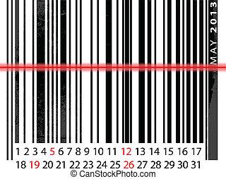 mai, barcode, illustration, calendrier, vecteur, 2013, design.