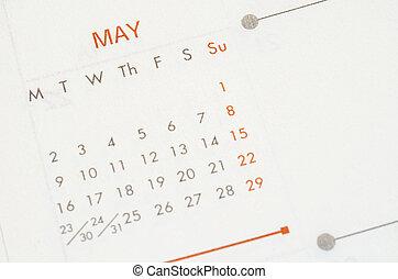 mai, calendar., 2016