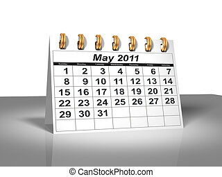 mai, calendar., bureau, 2011.