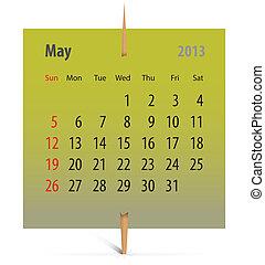 mai, calendrier, 2013