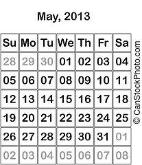 mai, calendrier, 2013, mois