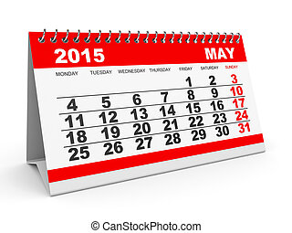 mai, calendrier, 2015.