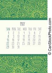 mai, calendrier, 2016