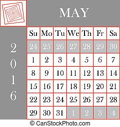 mai, calendrier, 2016, format carré