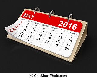 mai, -, calendrier, 2016