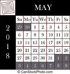 mai, calendrier, carrée, 2018, format