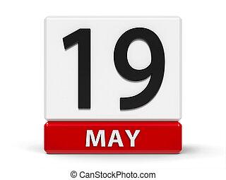 mai, calendrier, cubes, 19ème