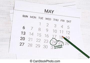 mai, calendrier, réunion, jour, concept.
