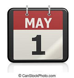 mai, calendrier, travail, 1, jour
