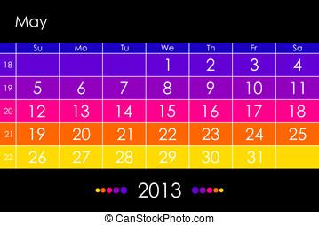 mai, calendrier, vecteur, -, 2013