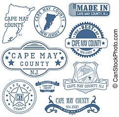mai, comté, signes, générique, nj, timbres, cap