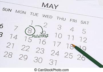 mai, concept., calendrier, réunion, jour