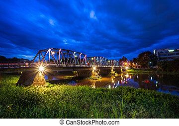 mai, couleur temps, twlight, chiang, touriste, pont, lumières, fer, attraction, thailand., commandant