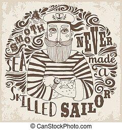 mai, esperto, liscio, fatto, sailor., mare
