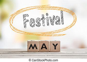 mai, festival, table, bois, signe