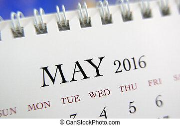 mai, fin, calendrier, 2016, haut