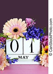 mai, flowers., heureux, calendrier, jour