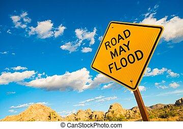 mai, inondation, avertissement, panneaux signalisations