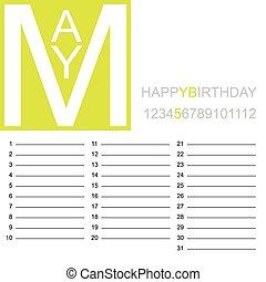 mai, jazzy, calendrier, anniversaire