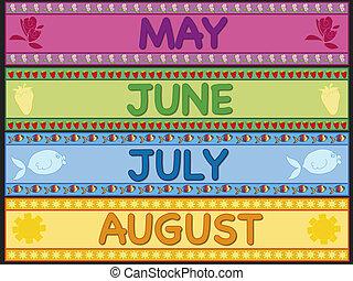 mai, juillet, juin, août